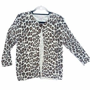 SUSAN BRISTOL animal print cardigan size M